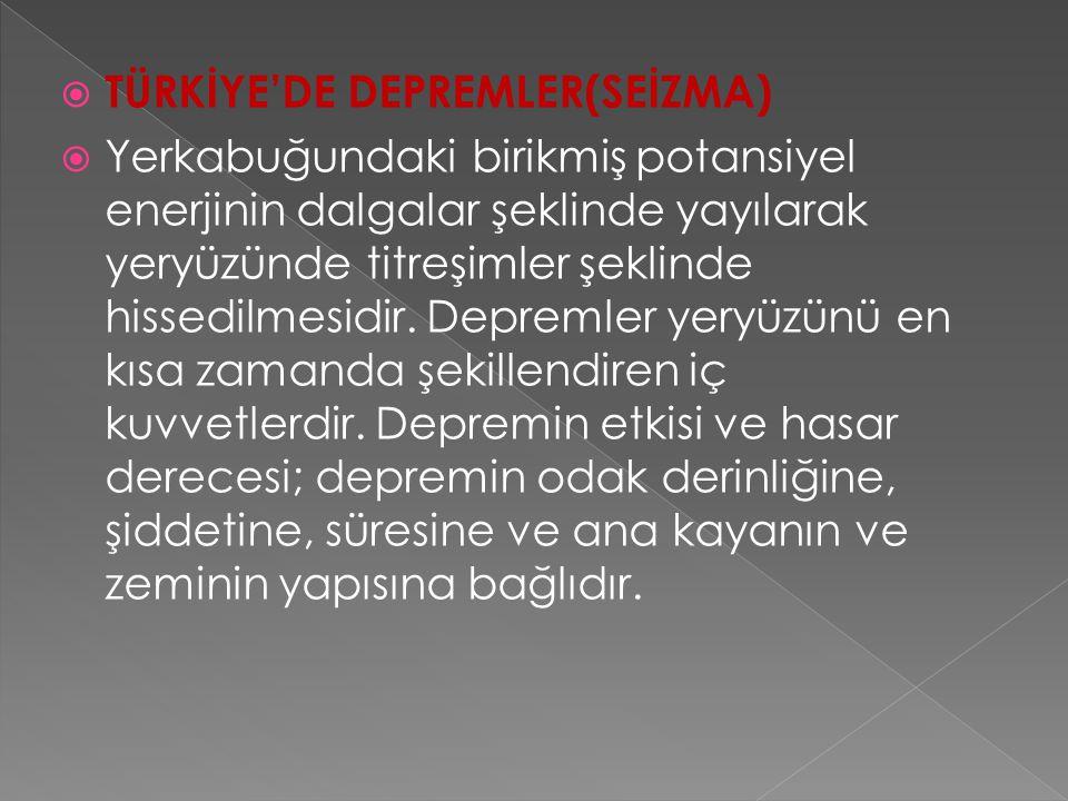 TÜRKİYE'DE DEPREMLER(SEİZMA)