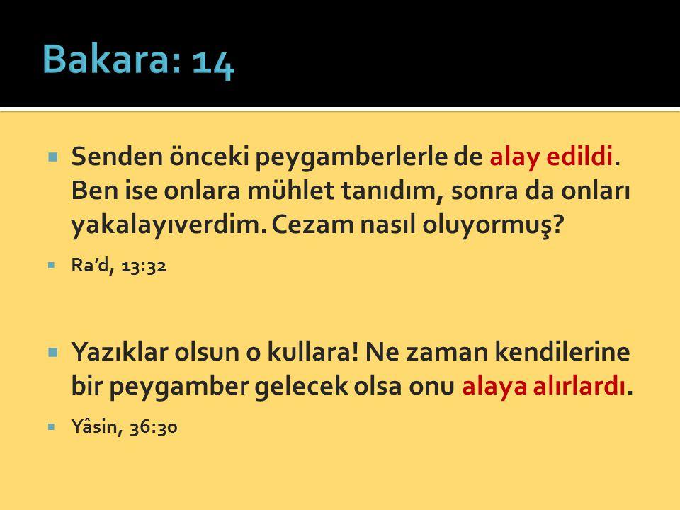 Bakara: 14 Senden önceki peygamberlerle de alay edildi. Ben ise onlara mühlet tanıdım, sonra da onları yakalayıverdim. Cezam nasıl oluyormuş