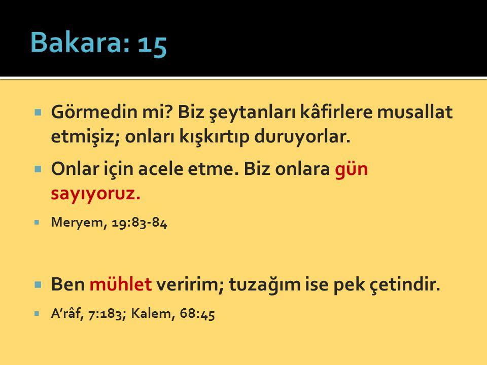 Bakara: 15 Görmedin mi Biz şeytanları kâfirlere musallat etmişiz; onları kışkırtıp duruyorlar. Onlar için acele etme. Biz onlara gün sayıyoruz.