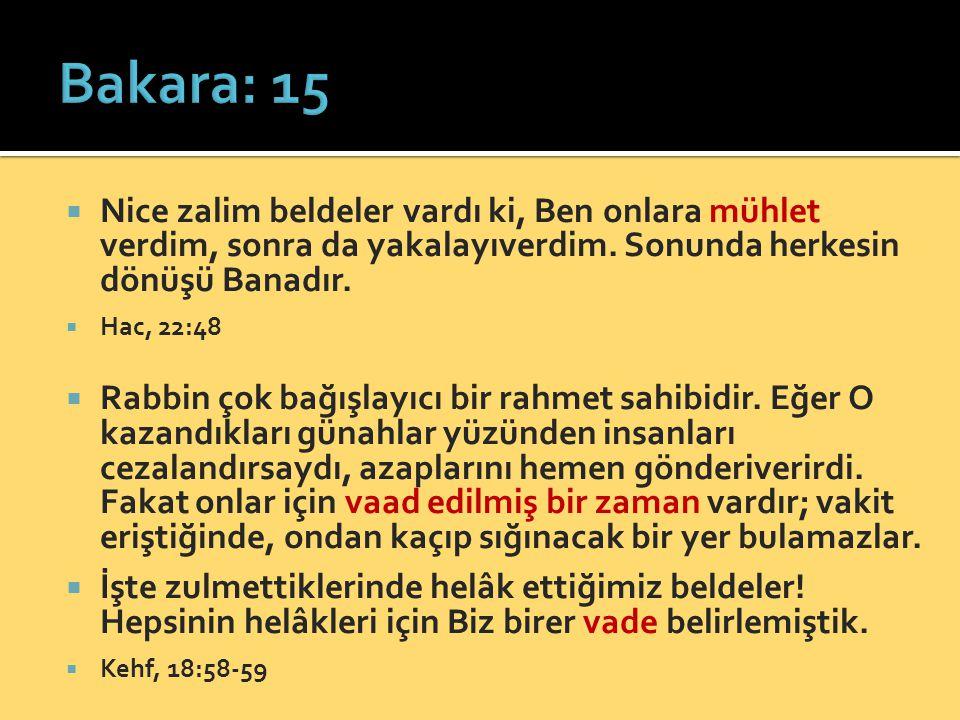 Bakara: 15 Nice zalim beldeler vardı ki, Ben onlara mühlet verdim, sonra da yakalayıverdim. Sonunda herkesin dönüşü Banadır.