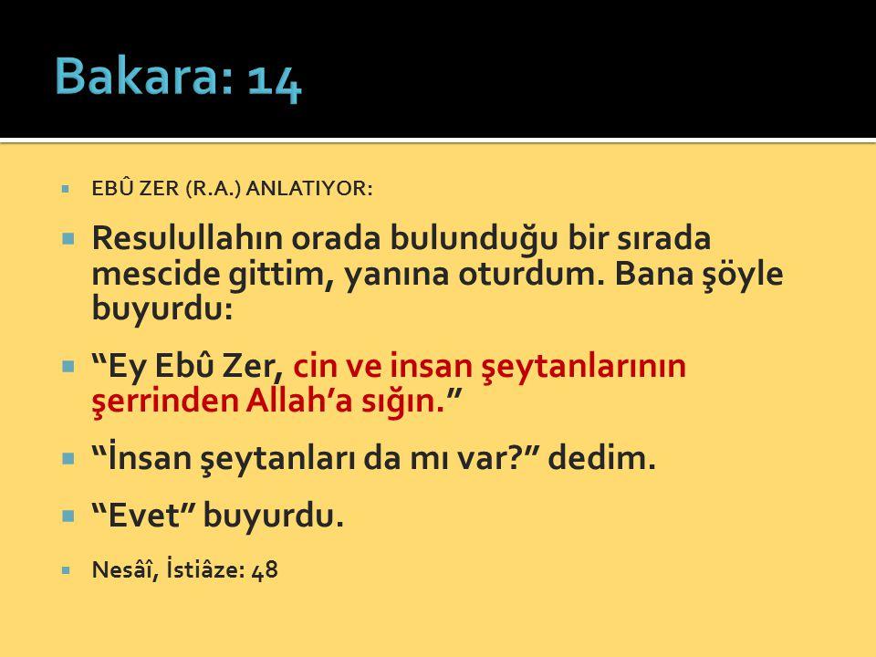 Bakara: 14 EBÛ ZER (R.A.) ANLATIYOR: Resulullahın orada bulunduğu bir sırada mescide gittim, yanına oturdum. Bana şöyle buyurdu:
