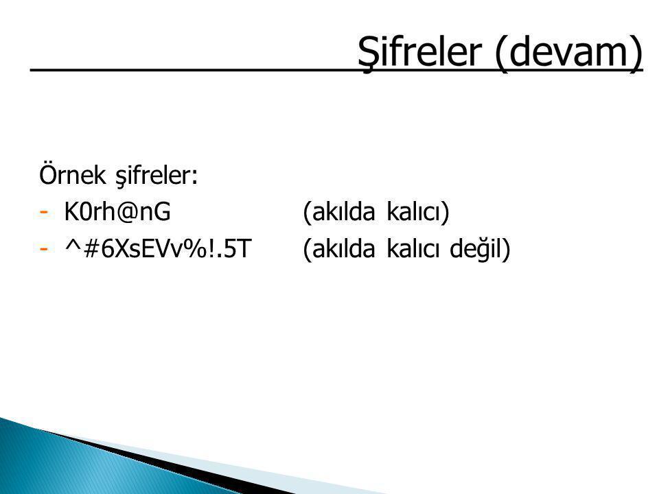 Örnek şifreler: K0rh@nG (akılda kalıcı) ^#6XsEVv%!.5T (akılda kalıcı değil)