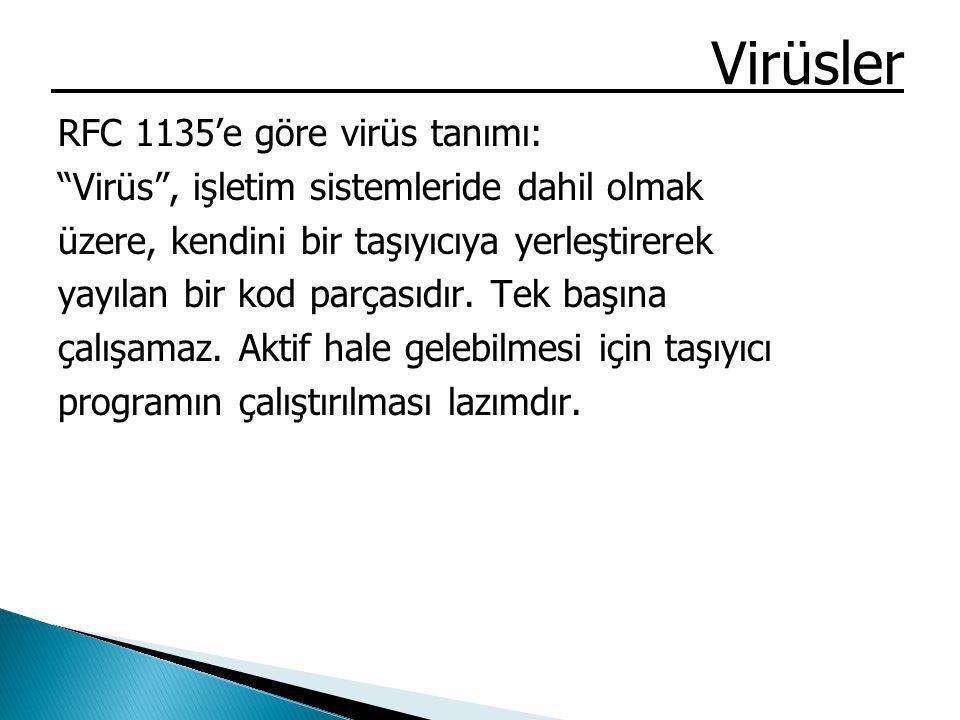 Virüsler RFC 1135'e göre virüs tanımı: