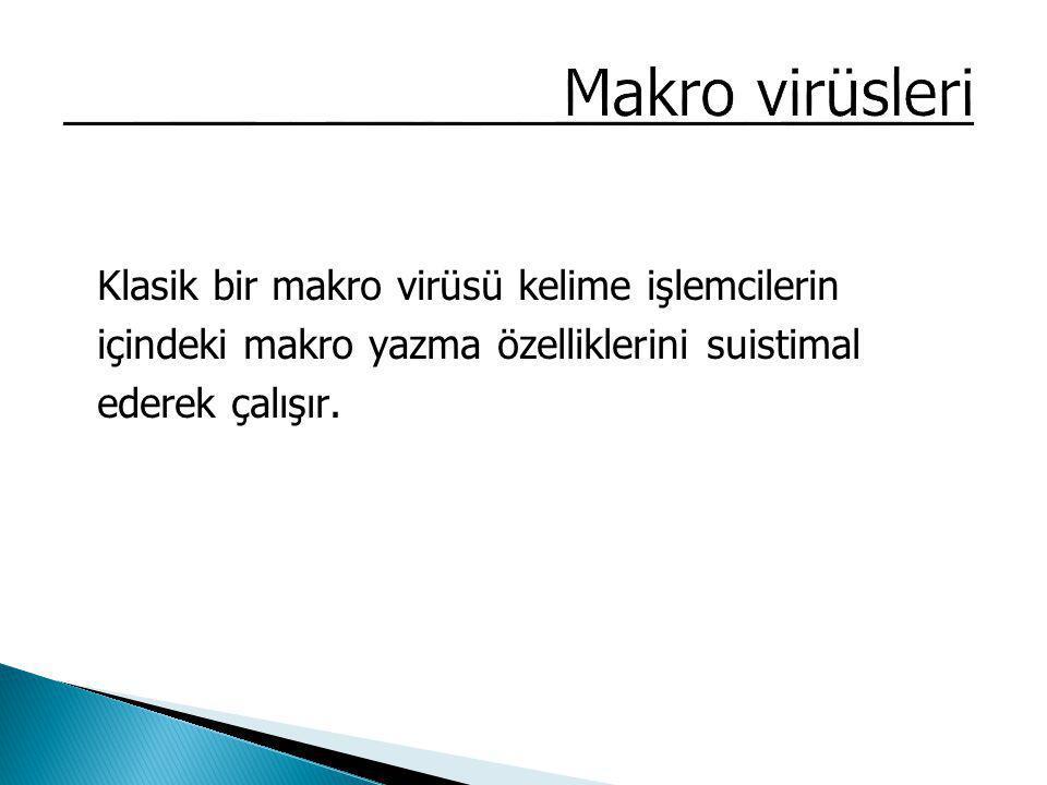 Makro virüsleri Klasik bir makro virüsü kelime işlemcilerin