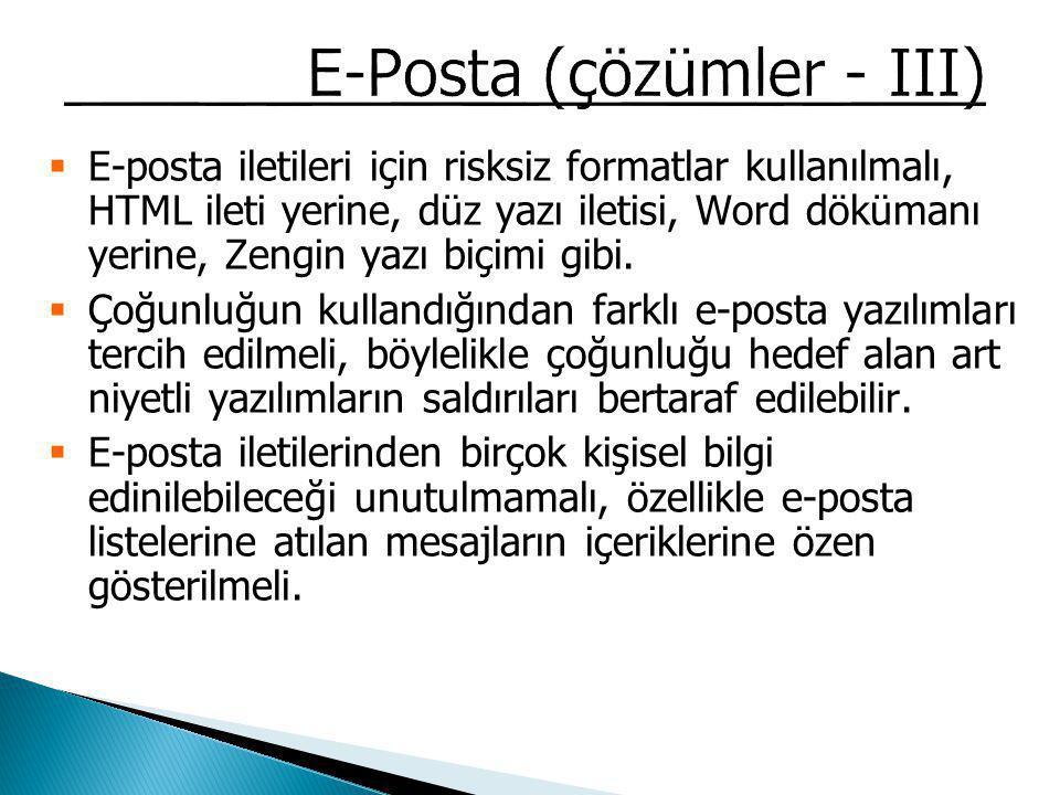 E-Posta (çözümler - III)