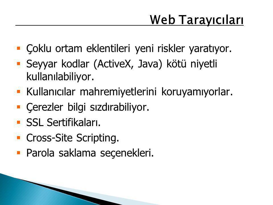 Web Tarayıcıları Çoklu ortam eklentileri yeni riskler yaratıyor. Seyyar kodlar (ActiveX, Java) kötü niyetli kullanılabiliyor.