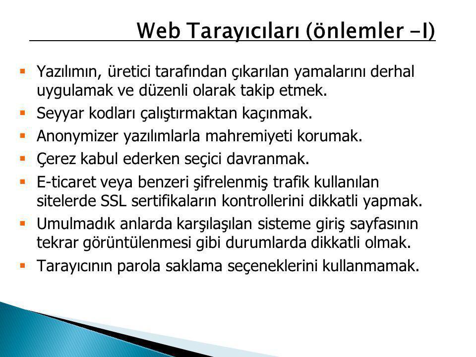 Web Tarayıcıları (önlemler -I)