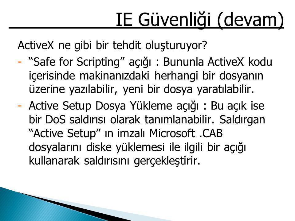 IE Güvenliği (devam) ActiveX ne gibi bir tehdit oluşturuyor