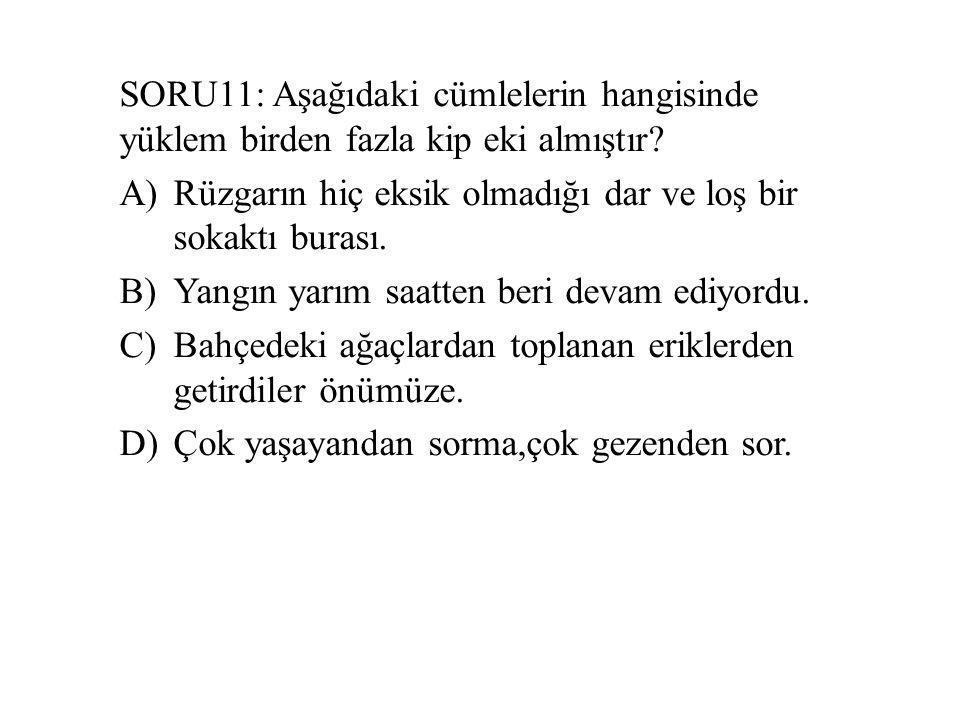 SORU11: Aşağıdaki cümlelerin hangisinde yüklem birden fazla kip eki almıştır