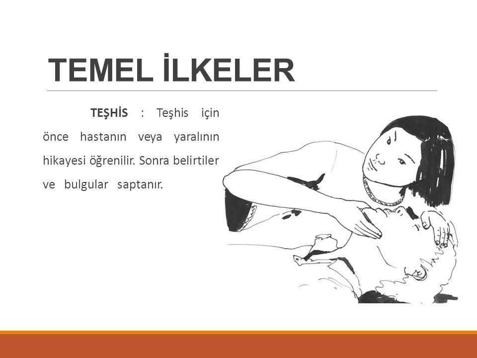 TEMEL İLKELER TEŞHİS : Teşhis için önce hastanın veya yaralının hikayesi öğrenilir.
