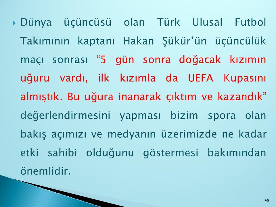 Dünya üçüncüsü olan Türk Ulusal Futbol Takımının kaptanı Hakan Şükür'ün üçüncülük maçı sonrası 5 gün sonra doğacak kızımın uğuru vardı, ilk kızımla da UEFA Kupasını almıştık.