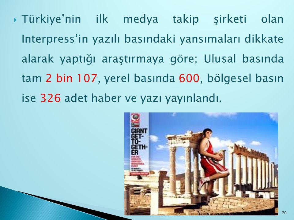 Türkiye'nin ilk medya takip şirketi olan Interpress'in yazılı basındaki yansımaları dikkate alarak yaptığı araştırmaya göre; Ulusal basında tam 2 bin 107, yerel basında 600, bölgesel basın ise 326 adet haber ve yazı yayınlandı.