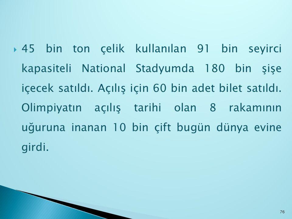 45 bin ton çelik kullanılan 91 bin seyirci kapasiteli National Stadyumda 180 bin şişe içecek satıldı.