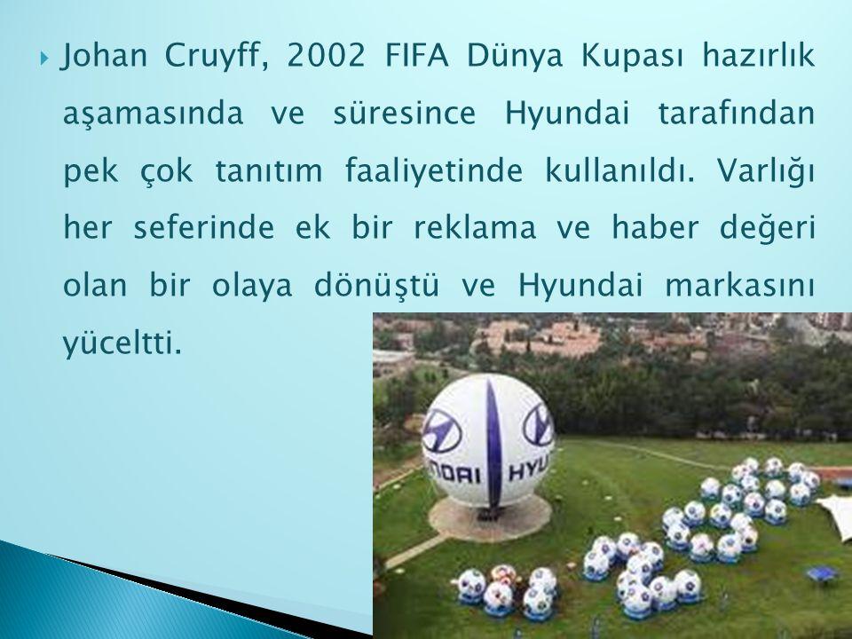 Johan Cruyff, 2002 FIFA Dünya Kupası hazırlık aşamasında ve süresince Hyundai tarafından pek çok tanıtım faaliyetinde kullanıldı.