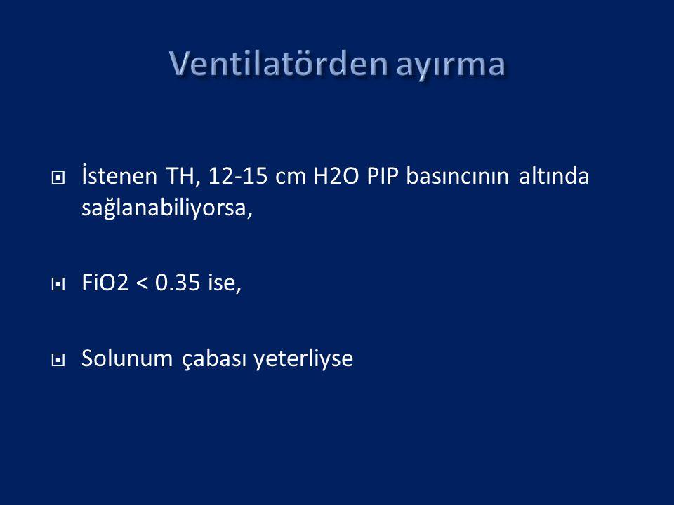 Ventilatörden ayırma İstenen TH, 12-15 cm H2O PIP basıncının altında sağlanabiliyorsa, FiO2 < 0.35 ise,
