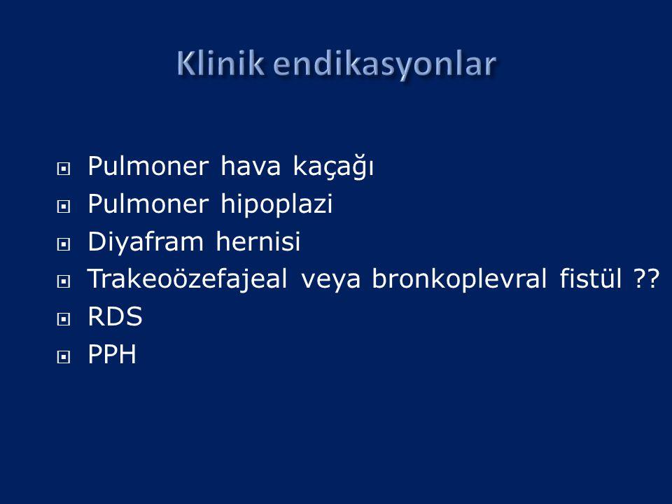 Klinik endikasyonlar Pulmoner hava kaçağı Pulmoner hipoplazi