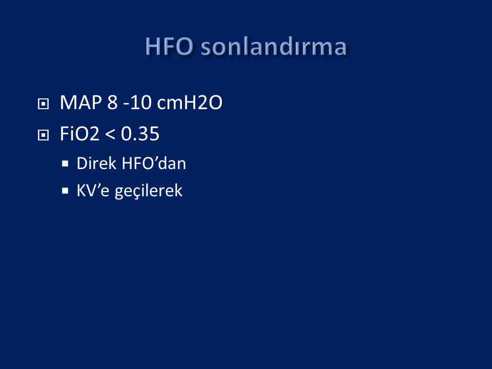 HFO sonlandırma MAP 8 -10 cmH2O FiO2 < 0.35 Direk HFO'dan