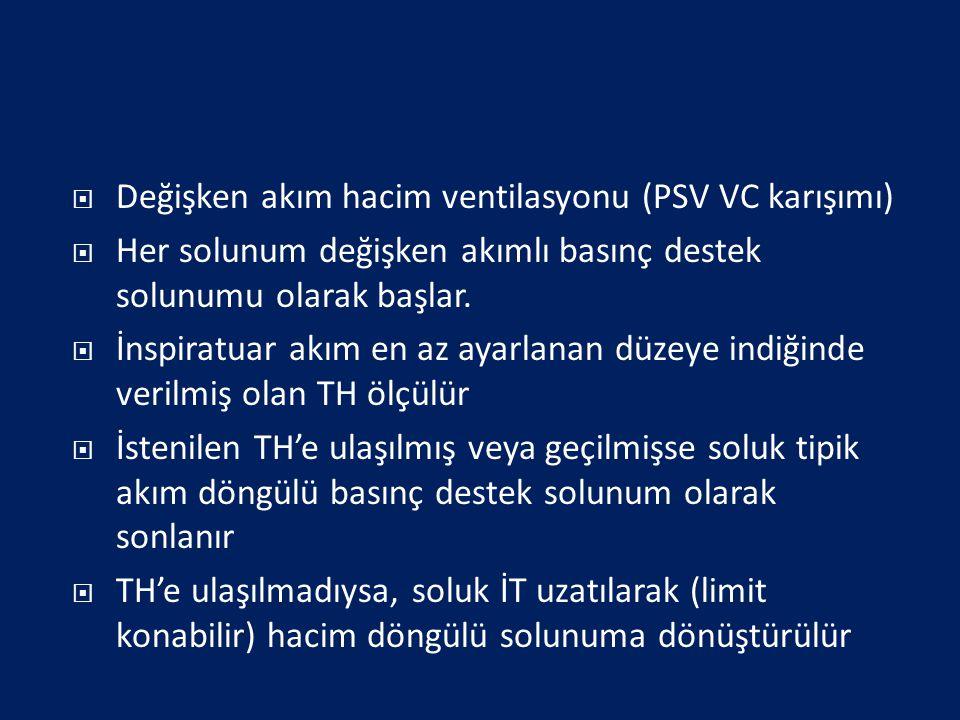 Değişken akım hacim ventilasyonu (PSV VC karışımı)