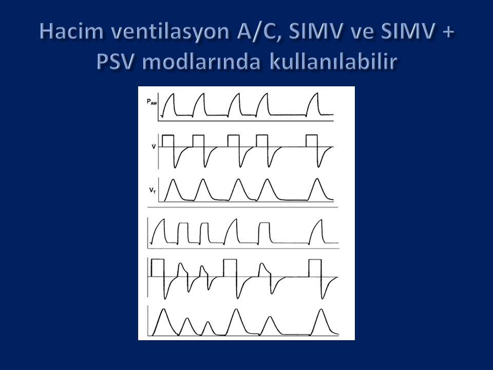 Hacim ventilasyon A/C, SIMV ve SIMV + PSV modlarında kullanılabilir