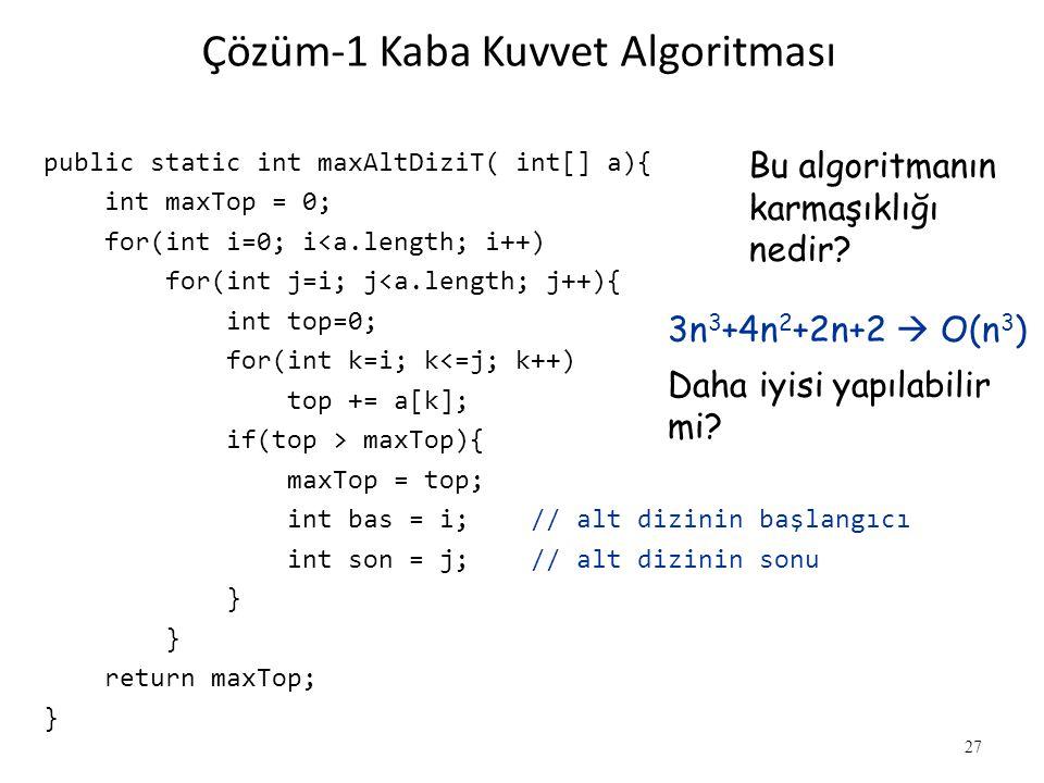 Çözüm-1 Kaba Kuvvet Algoritması