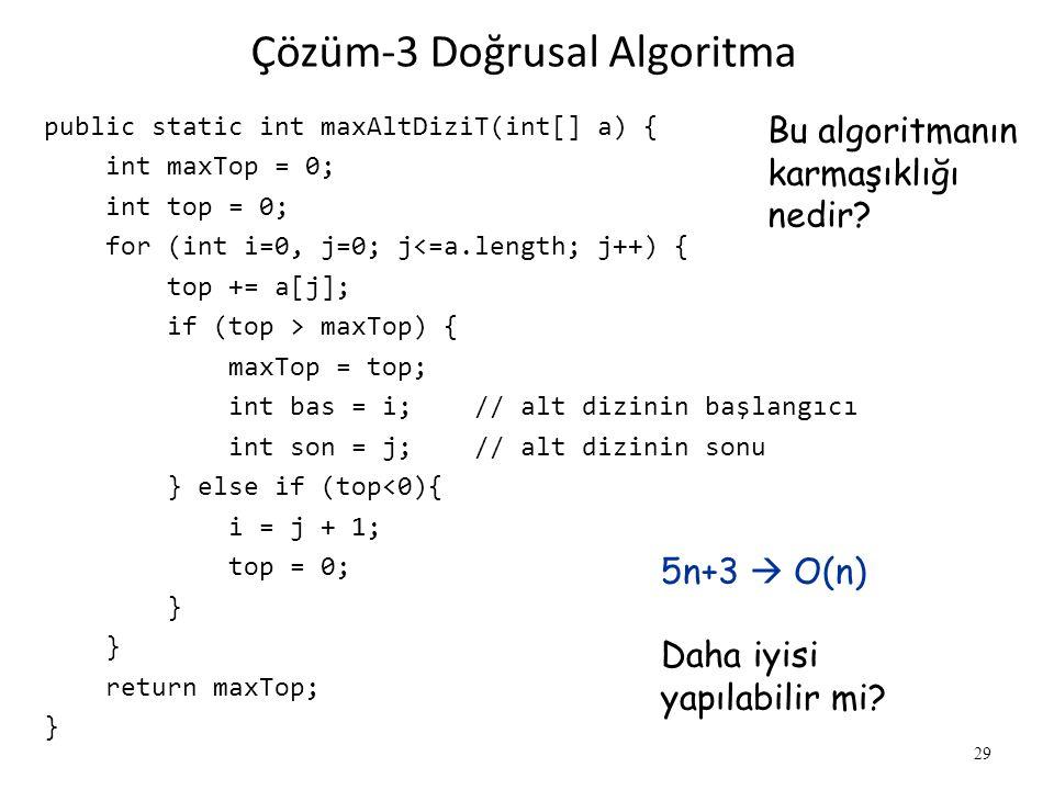 Çözüm-3 Doğrusal Algoritma