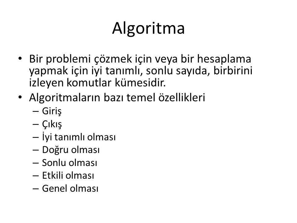 Algoritma Bir problemi çözmek için veya bir hesaplama yapmak için iyi tanımlı, sonlu sayıda, birbirini izleyen komutlar kümesidir.