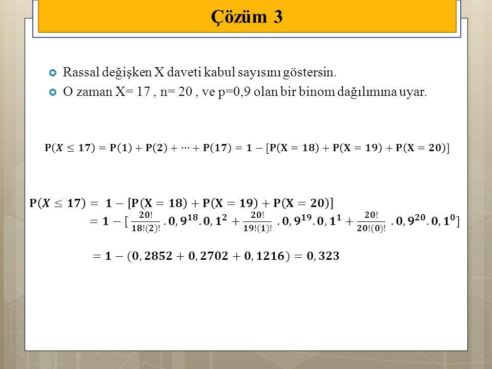 Çözüm 3 Rassal değişken X daveti kabul sayısını göstersin.