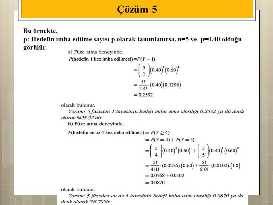Çözüm 5 Bu örnekte, p: Hedefin imha edilme sayısı p olarak tanımlanırsa, n=5 ve p=0.40 olduğu görülür.