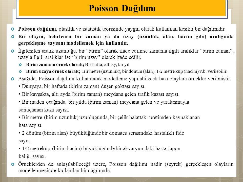 Poisson Dağılımı Poisson dağılımı, olasılık ve istatistik teorisinde yaygın olarak kullanılan kesikli bir dağılımdır.