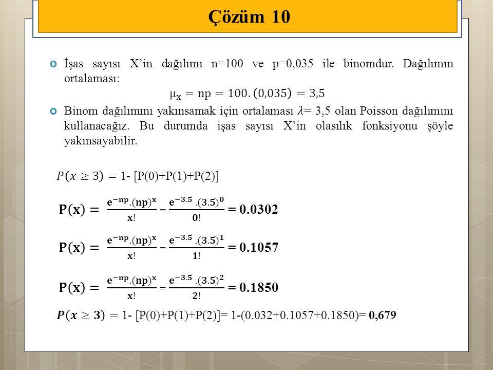 Çözüm 10 𝐏 𝐱 = 𝐞 −𝐧𝐩 . (𝐧𝐩) 𝐱 𝐱! = 𝐞 −𝟑.𝟓 . (𝟑.𝟓) 𝟎 𝟎! = 0.0302