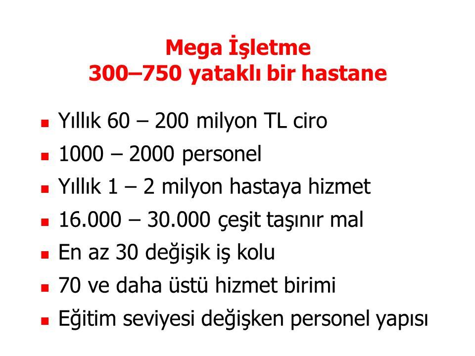 Mega İşletme 300–750 yataklı bir hastane