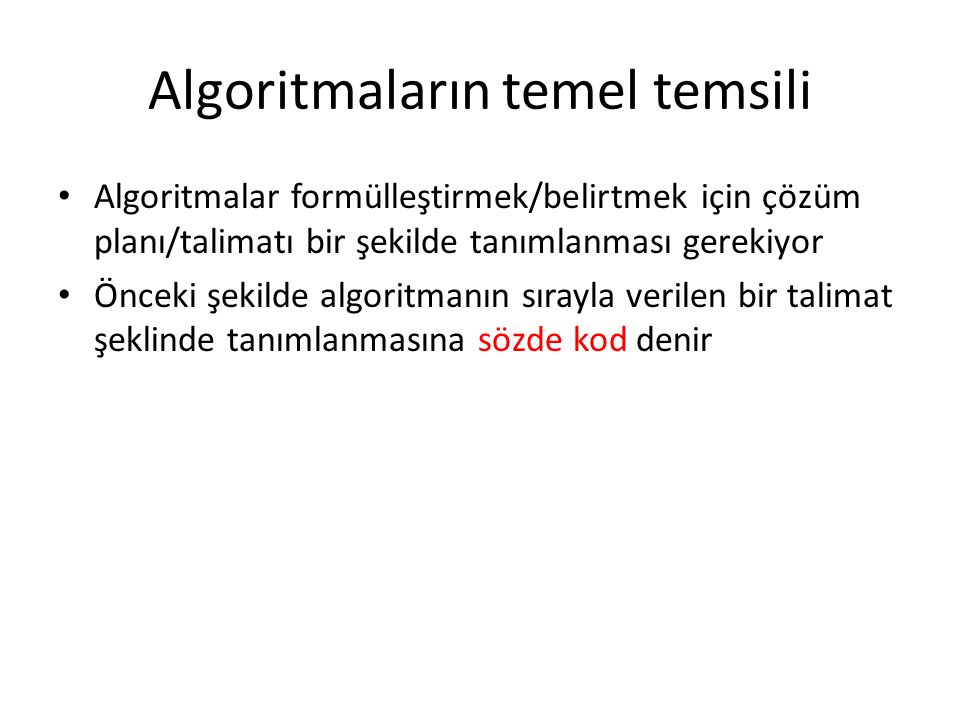 Algoritmaların temel temsili