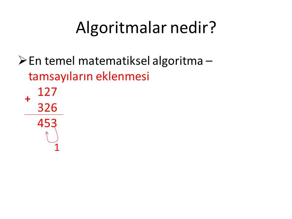 Algoritmalar nedir En temel matematiksel algoritma – tamsayıların eklenmesi 127 326 453. +