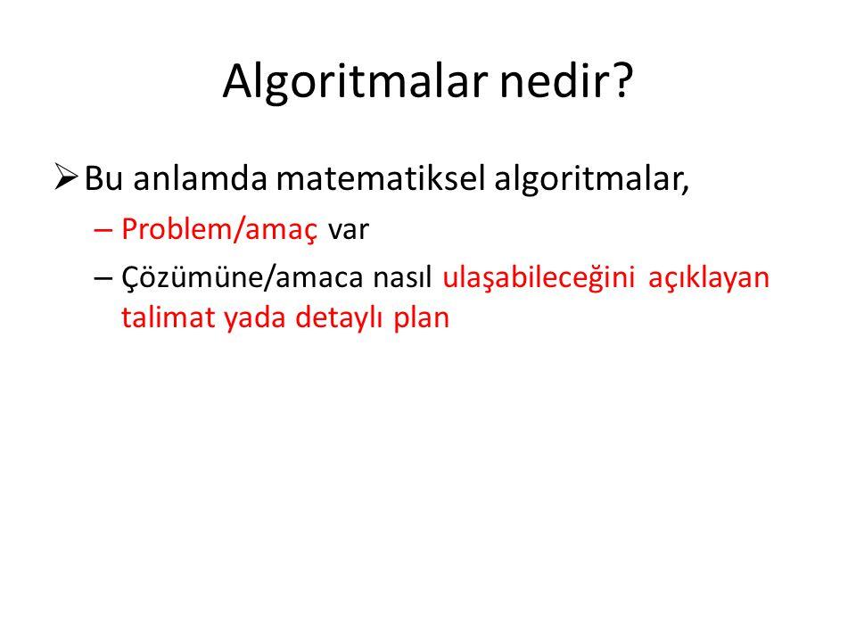 Algoritmalar nedir Bu anlamda matematiksel algoritmalar,