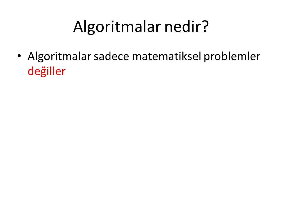 Algoritmalar nedir Algoritmalar sadece matematiksel problemler değiller