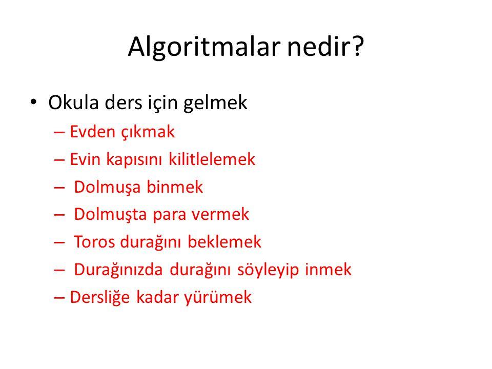 Algoritmalar nedir Okula ders için gelmek Evden çıkmak