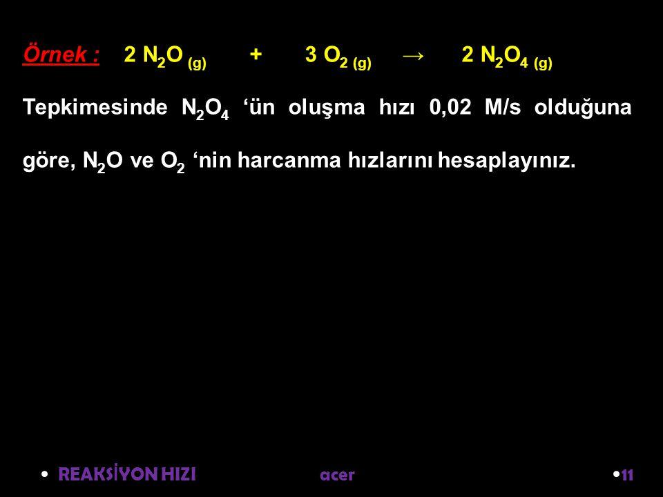 Örnek : 2 N2O (g) + 3 O2 (g) → 2 N2O4 (g)