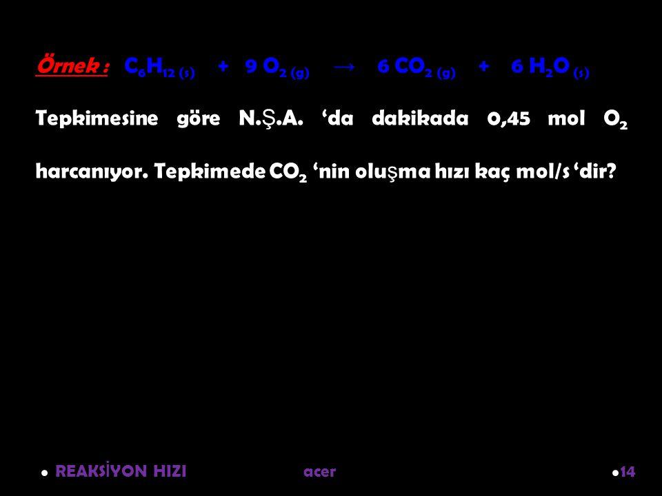 Örnek : C6H12 (s) + 9 O2 (g) → 6 CO2 (g) + 6 H2O (s)