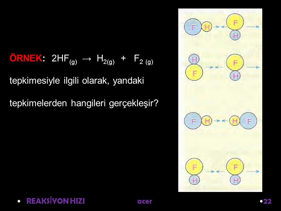 ÖRNEK: 2HF(g) → H2(g) + F2 (g) tepkimesiyle ilgili olarak, yandaki tepkimelerden hangileri gerçekleşir