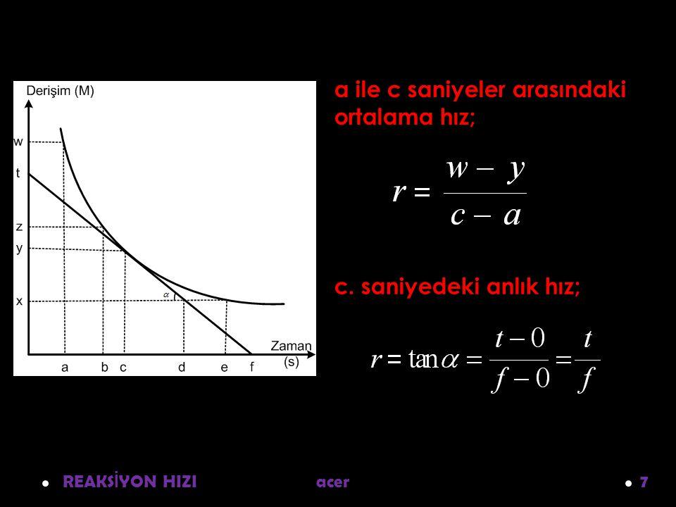 a ile c saniyeler arasındaki ortalama hız;