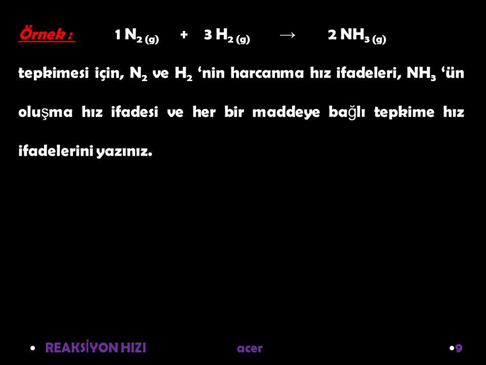 Örnek : 1 N2 (g) + 3 H2 (g) → 2 NH3 (g)
