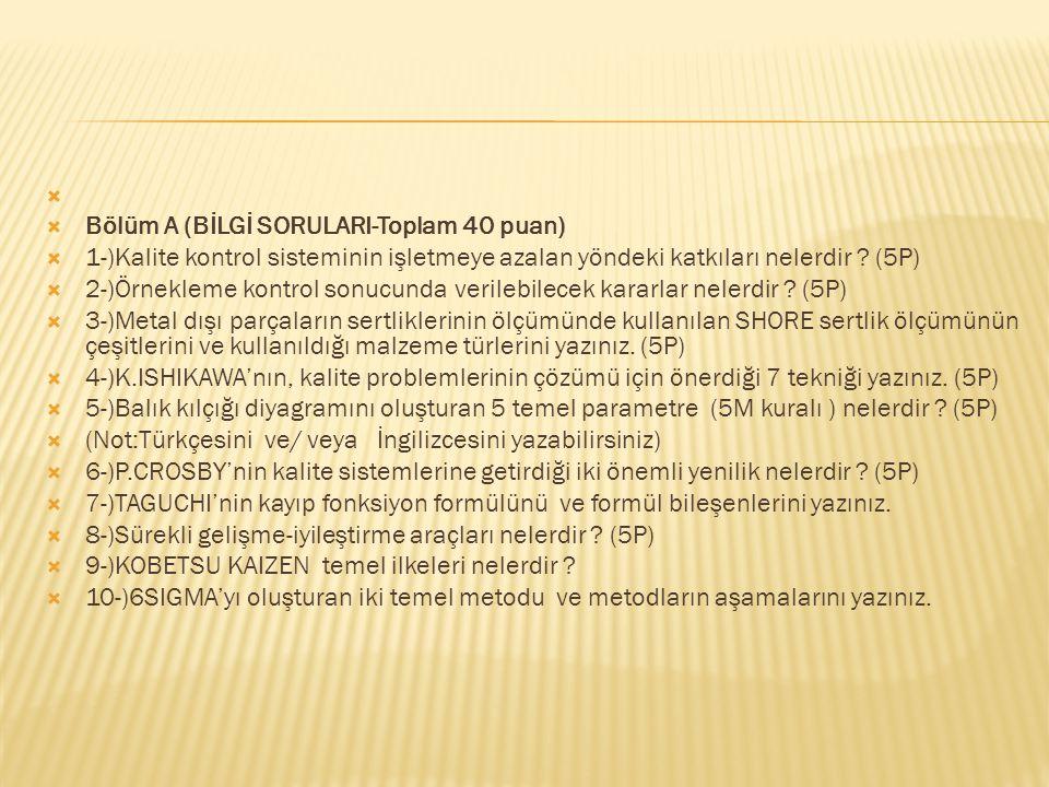 Bölüm A (BİLGİ SORULARI-Toplam 40 puan) 1-)Kalite kontrol sisteminin işletmeye azalan yöndeki katkıları nelerdir (5P)