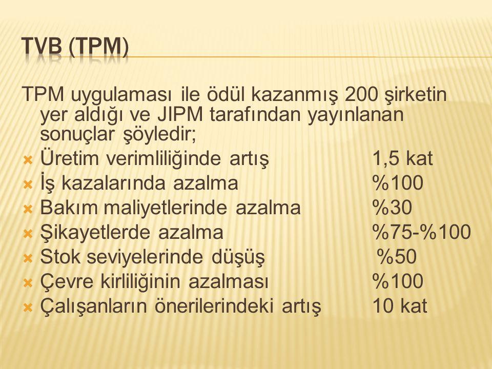 TVB (TPM) TPM uygulaması ile ödül kazanmış 200 şirketin yer aldığı ve JIPM tarafından yayınlanan sonuçlar şöyledir;