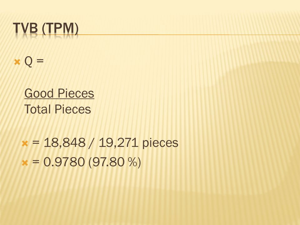 TVB (TPM) Q = Good Pieces Total Pieces = 18,848 / 19,271 pieces