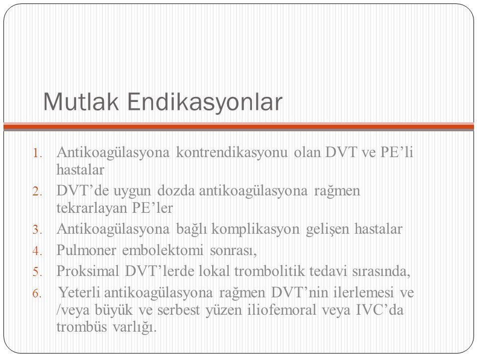 Mutlak Endikasyonlar Antikoagülasyona kontrendikasyonu olan DVT ve PE'li hastalar. DVT'de uygun dozda antikoagülasyona rağmen tekrarlayan PE'ler.