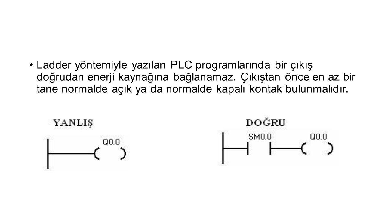 Ladder yöntemiyle yazılan PLC programlarında bir çıkış doğrudan enerji kaynağına bağlanamaz.