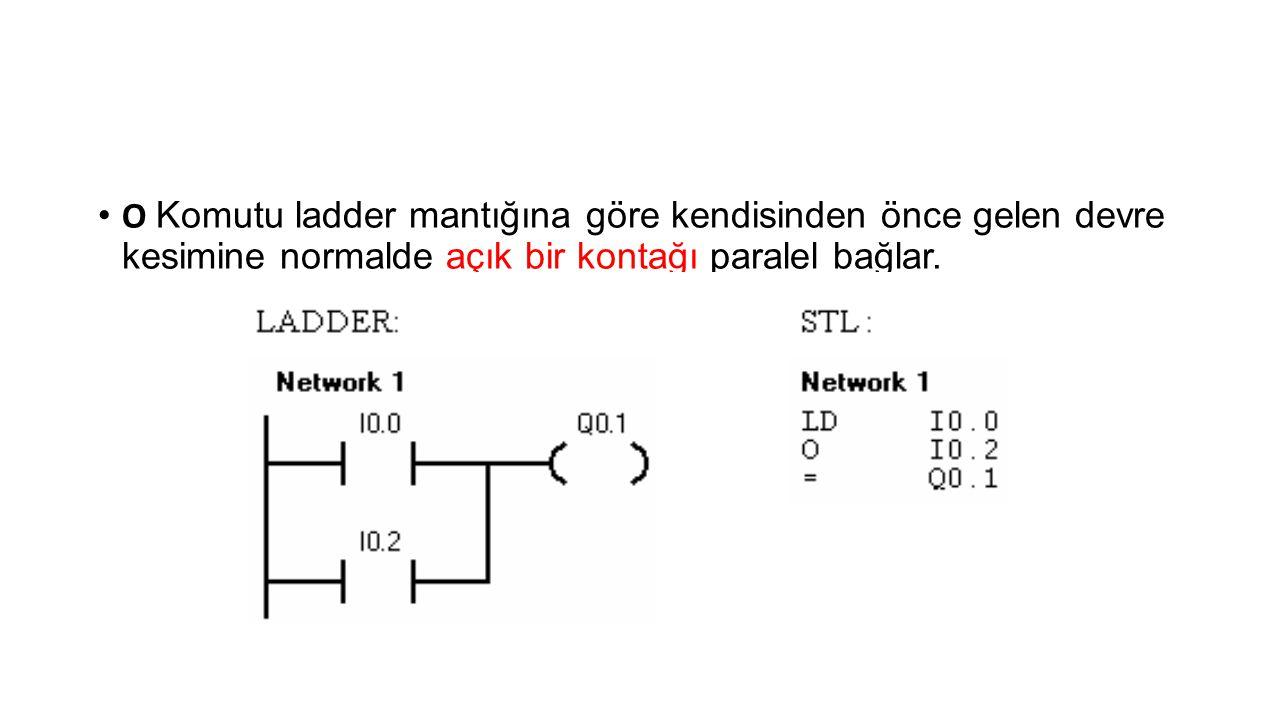 O Komutu ladder mantığına göre kendisinden önce gelen devre kesimine normalde açık bir kontağı paralel bağlar.