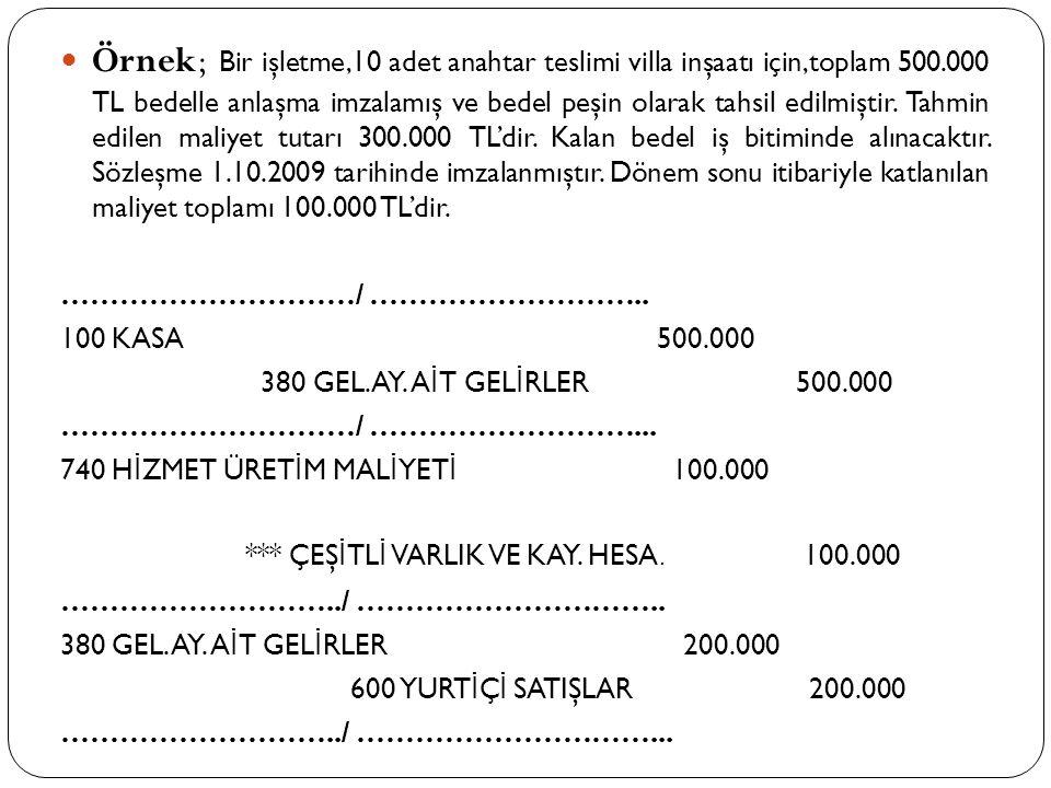 Örnek; Bir işletme,10 adet anahtar teslimi villa inşaatı için,toplam 500.000 TL bedelle anlaşma imzalamış ve bedel peşin olarak tahsil edilmiştir. Tahmin edilen maliyet tutarı 300.000 TL'dir. Kalan bedel iş bitiminde alınacaktır. Sözleşme 1.10.2009 tarihinde imzalanmıştır. Dönem sonu itibariyle katlanılan maliyet toplamı 100.000 TL'dir.