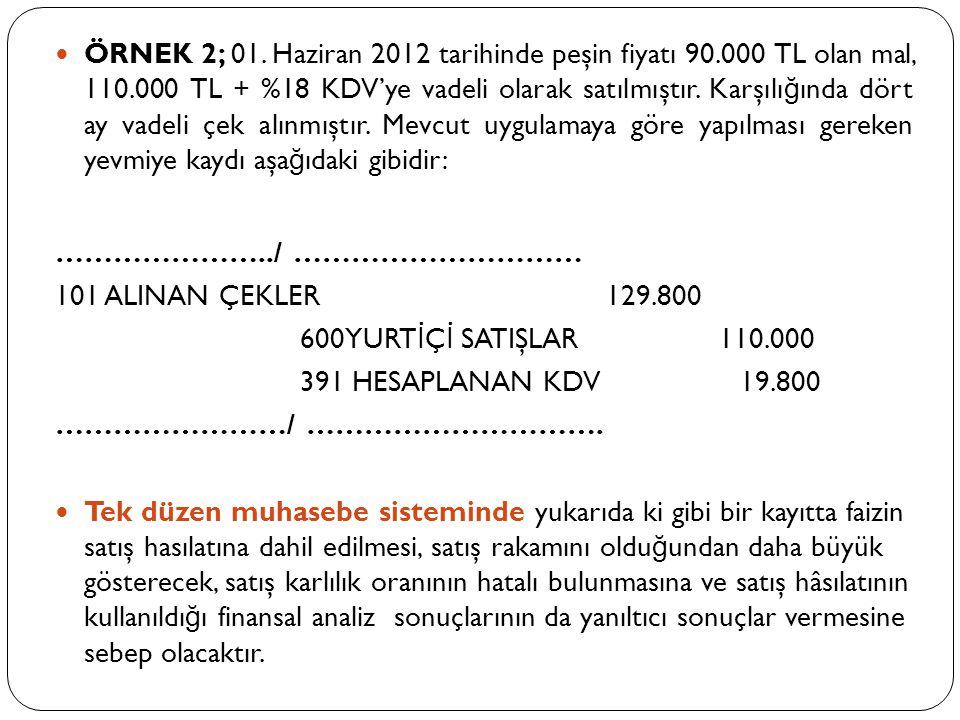ÖRNEK 2; 01. Haziran 2012 tarihinde peşin fiyatı 90