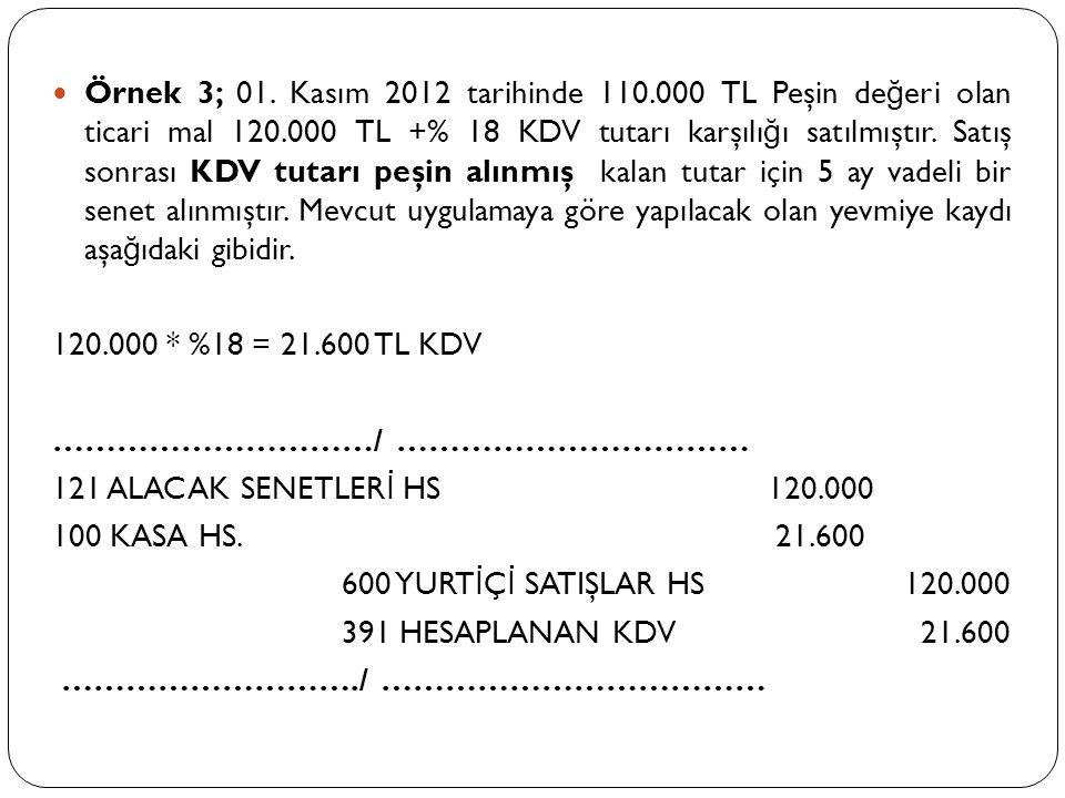 Örnek 3; 01. Kasım 2012 tarihinde 110